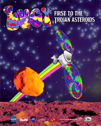 Lucy Flyby Poster in Psychedelic Style